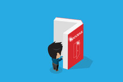 Isometric businessman open a book, success and business concept Stock Photos