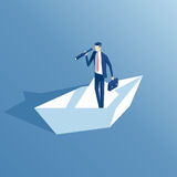 Isometric businessman and paper boat Royalty Free Stock Image