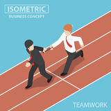 Isometric Businessman Passing Baton to His Colleague in Relay Ra Royalty Free Stock Images