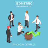 Isometric businessman playing the flute to control stock market. Flat 3d isometric businessman playing the flute to control stock market graph, business and Royalty Free Stock Image