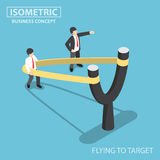 Isometric businessman preparing to fly by slingshot catapult Royalty Free Stock Image