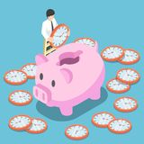Isometric businessman putting a clock into a pink piggy bank. Flat 3d isometric businessman putting a clock into a pink piggy bank. Time saving and time Royalty Free Stock Photo
