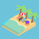 Isometric Businessman relaxing on the beach. Flat 3d isometric businessman relaxing on the beach, relax and going on a vacation concept Royalty Free Stock Image