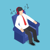 Isometric Businessman Resting at Sofa and Listening Music from H. Flat 3d Isometric Businessman Resting at Sofa and Listening Music from Headphones, Relax Stock Photo