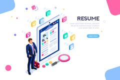 Isometric Businessman Resume Resources Employer Customer Boss. Web page, banner for resume resources. Employer, customer, boss recruit. Businessman isometric stock illustration