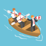 Isometric businessman in rowing team with leader command and con. Flat 3d isometric businessman in rowing team with leader command and control through a Stock Photo