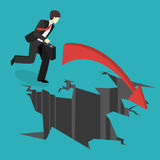 Isometric businessman running into the abyss. Man is facing difficulties. Stock Photo