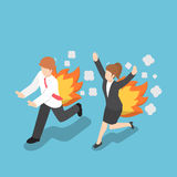 Isometric Businessman Running with Back on Fire. Flat 3d Isometric Businessman and Woman Running with Back on Fire, Rush hour and Deadline Concept Stock Image