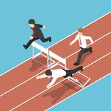Isometric businessman running with obstacle in hurdle race. Flat 3d isometric businessman running with obstacle in hurdle race. Business competition concept Stock Photos