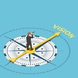 Isometric businessman with spyglass telescope on compass that po. Flat 3d isometric businessman with spyglass telescope on compass that point to vision word Stock Photo