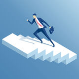 Isometric businessman and stairs. Businessman run up the stairs isometric vector illustration, an employee climbs up the stairs, business concept growth and the Stock Photo