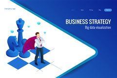 Isometric businessman standing on chess board. Strategy, management, leadership concept. Business strategy. Isometric businessman standing on chess board vector illustration