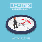 Isometric businessman standing on compass that points to success Royalty Free Stock Images