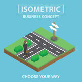Isometric businessman standing in front of crossroad. Businessman standing in front of crossroad, Flat 3d web isometric infographics design, VECTOR, EPS10 Stock Photos