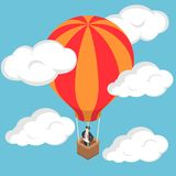Isometric businessman standing on hot air balloon. Flat 3d isometric businessman standing on hot air balloon in sky Royalty Free Stock Images