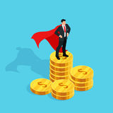 Isometric businessman standing on a stack of money. Stock Image
