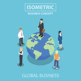 Isometric businessman standing on the world Stock Photo