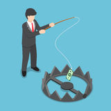 Isometric businessman stole money from bear trap by fishing rod. Investment risk, business challenge concept Stock Photography
