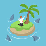 Isometric businessman stranded in an island surrounded by shark Royalty Free Stock Image