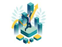 Isometric businessman success, leadership, awards, career, successful projects, goal, winning plan, leadership qualities royalty free illustration