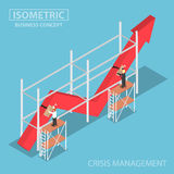 Isometric businessman trying to fix broken graph. Financial and crisis management concept Stock Photo