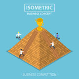 Isometric businessman trying to get winner trophy at the top of. Flat 3d isometric businessman and rival trying to get winner trophy at the top of pyramid Royalty Free Stock Photography