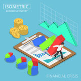 Isometric businessman trying to stop falling graph Royalty Free Stock Photography