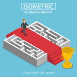 Isometric businessman walking on red carpet over the maze Stock Photos