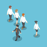 Isometric businessman walking to different way from other people Royalty Free Stock Images