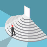 Isometric businessman walking up staircase to the door. Flat 3d isometric businessman walking up staircase to the door with bright light, new opportunities and Stock Photography