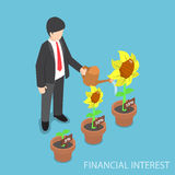 Isometric businessman watering different size of flower plant Royalty Free Stock Image