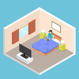Isometric businessman working on his laptop on the bed. Flat 3d isometric businessman working on his laptop on the bed in bedroom, hard working concept Stock Image