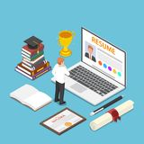 Isometric businessman writing resume on his laptop. Flat 3d isometric businessman writing resume on his laptop. Job search and recruitment concept royalty free illustration