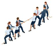 Isometric businessmen and businesswomen in suit pull the rope, competition, conflict. Tug of war and symbol of rivalry. Isometric businessmen and businesswomen royalty free illustration