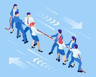 Isometric businessmen and businesswomen in suit pull the rope, competition, conflict. Tug of war and symbol of rivalry. Isometric businessmen and businesswomen stock illustration