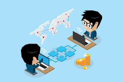 Isometric businessmen connecting online by jigsaw puzzle and notebook. Isometric businessmen connecting online by jigsaw puzzle and notebook, connection and Royalty Free Stock Image