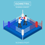 Isometric businessmen fighting on boxing ring. Flat 3d isometric businessmen fighting on boxing ring, business competition concept Royalty Free Stock Image