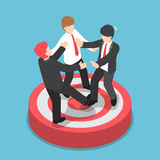 Isometric businessmen fighting for standing on the target. Flat 3d isometric businessmen fighting for standing on the target, business competition concept Royalty Free Stock Photos