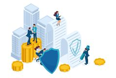 Isometric Businessmen insure their assets, investments and shares, shield. Concept for web design.  stock illustration