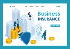 Isometric Businessmen insure their assets. Investments and shares, shield. Template Landing page vector illustration