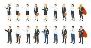 Isometric businessmen. Office employee 3D characters, different men and women standing sitting and communicating. Vector stock illustration