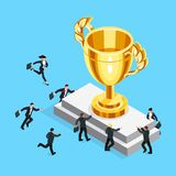 Isometric businessmen run to the gold cup. Business competition concept. Isometric businessmen run to the gold cup. 3d businessmen are fighting for the trophy Stock Photography
