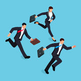 Isometric businessmen running race isolated on a blue background. 3d concept of competition in business. Vector illustration Stock Photography