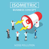 Isometric businesspeople disturbed by the noise from big megapho. Businesspeople disturbed by the noise from big megaphone, Flat 3d web isometric design, VECTOR Royalty Free Stock Photos