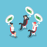 Isometric businesspeople dreaming about money Royalty Free Stock Image