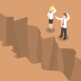 Isometric businesspeople standing at edge of the cliff Stock Photos