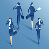 Isometric businesswoman set. Isometric  businesswoman standing with the phone,with  a briefcase, with documents, and with a wristwatch, isometric business people Royalty Free Stock Photo