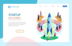 Isometric Businnes Start Up for web page, banner, presentation, social media concept landing page design. Income and royalty free illustration