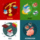 Isometric buying on credit, cashless payments, debit credit balances bookkeeping budget planning concept and Royalty Free Stock Photos