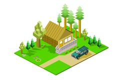 Isometric Cabin in Woods with sports utility vehicle. Isometric cabin in woods landscape with sport utility vehicle, eps vector format, jpeg Stock Images